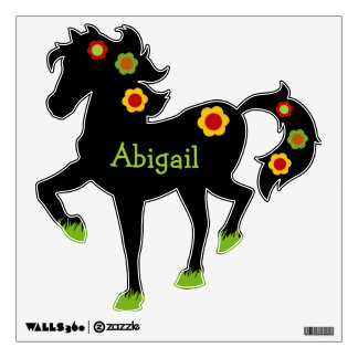 Flower Power Personalized Black Horse Wall Decal