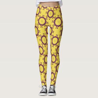 Flower power purple yellow Custom Leggings