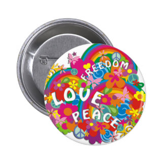 Flower Power Rainbow 2 Inch Round Button