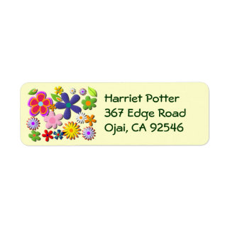 Flower Power Retro Floral Vector Custom Return Address Labels
