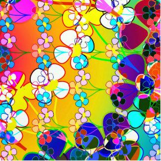 Flower Power Retro Pansies Photo Sculpture Keychain