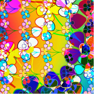 Flower Power Retro Pansies Photo Sculpture Magnet