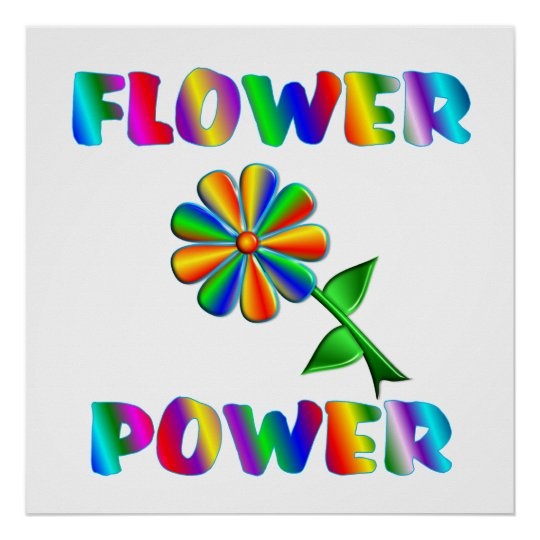 Flower Power Retro Poster