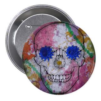flower power skull 3 inch round button