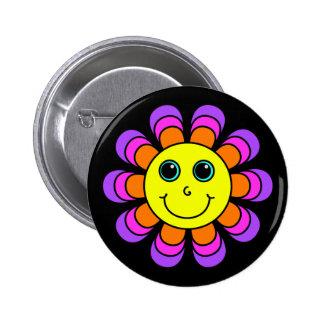 Flower Power Smiley Face 2 Inch Round Button