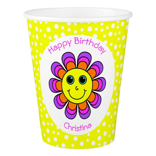 Flower Power Smiley Face Birthday Party Paper Cup