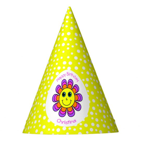 Flower Power Smiley Face Birthday Party Party Hat