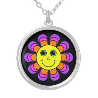 Flower Power Smiley Face Silver Plated Necklace