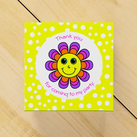 Flower Power Smiley Face Thank You Party Favor Box