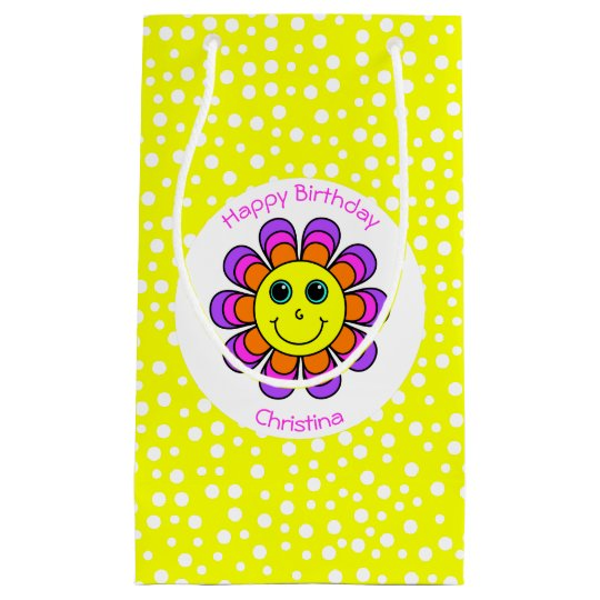 Flower Power Smiley Happy Birthday Personalized Small Gift Bag