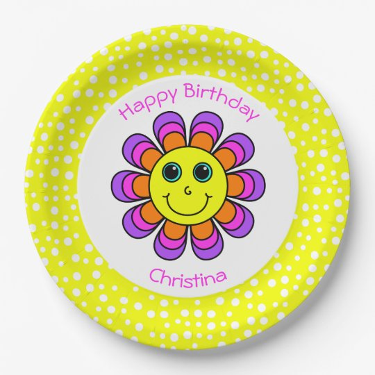 Flower Power Smiley Personalized Birthday Party Paper Plate