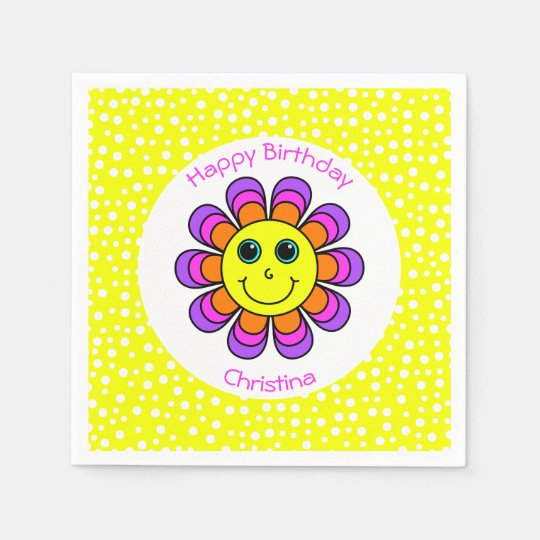 Flower Power Smiley Personalized Happy Birthday Paper Napkins