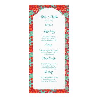 Flower Power Spring Wedding Menu Personalized Rack Card