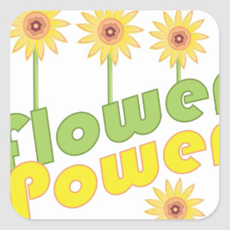 Flower Power Square Sticker