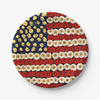 Flower Power US Banner 7 Inch Paper Plate