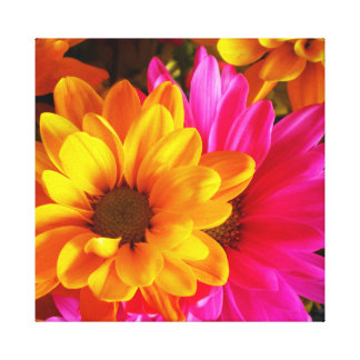 Flower Power Yellow and Pink 20x16 canvas