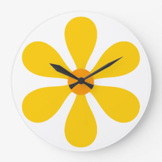 Flower Power - yellow Large Clock
