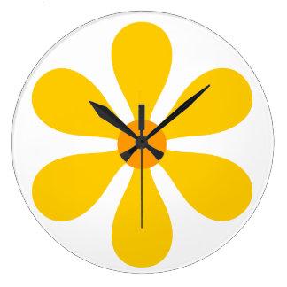 Flower Power - yellow Large Clock