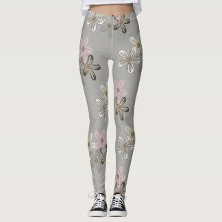 Flower print on gray leggings