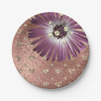 Flower Purple Blush Hearts Rose Gold Diamond Glass Paper Plate
