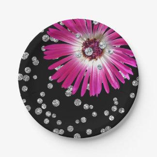 Flower Purple Bright Pink Rose Diamond Black Paper Plate