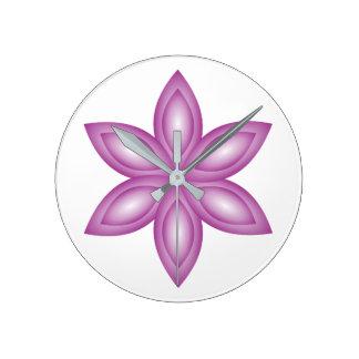Flower purple round clock
