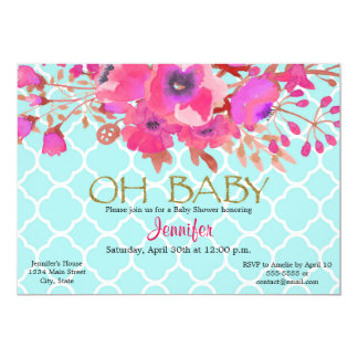 Flower quatrefoil modern geometric baby shower card