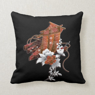 Flower raft japanese pattern throw pillow