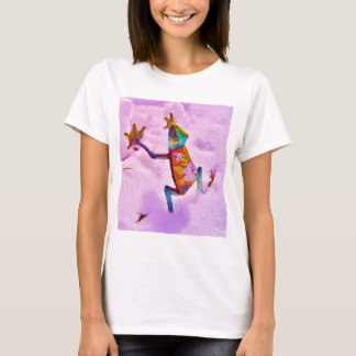 Flower rainbow frog on orchid color snow T-Shirt