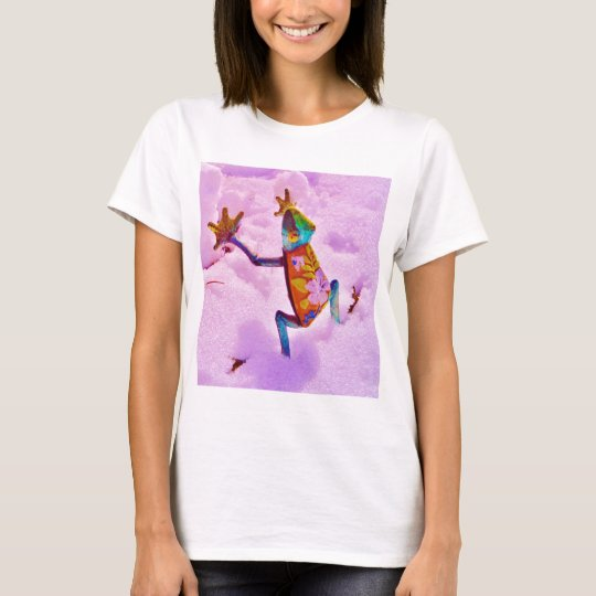Flower rainbow frog on orchid colour snow T-Shirt