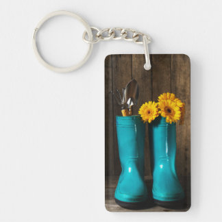 Flower Rectangle (double-sided) Keychain