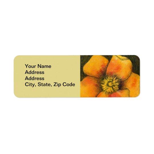 Flower Return Address Label dog rose yellow orange