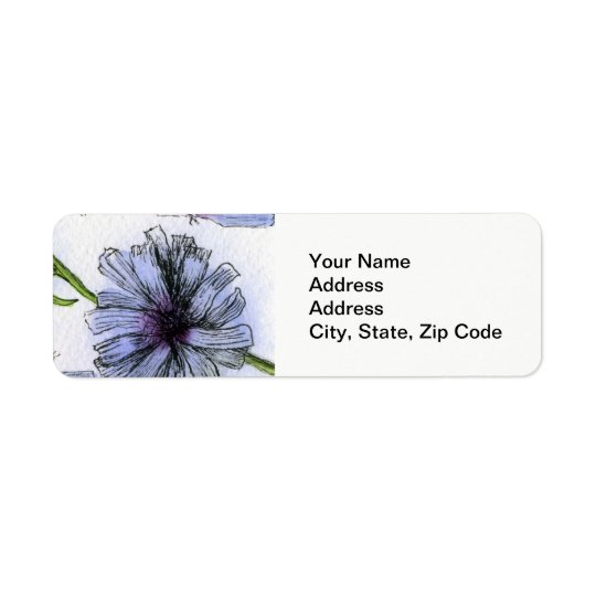 Flower Return Address Label , line floral chickory