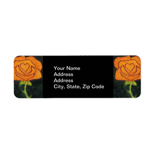 Flower Return Address Label rose orange and black.