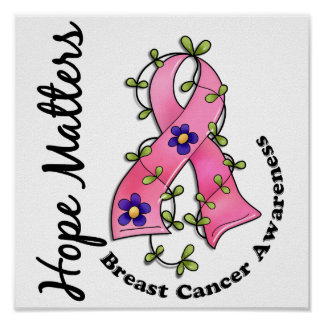 Flower Ribbon 4 Hope Matters Breast Cancer Posters