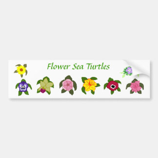 Flower sea turtles bumper sticker