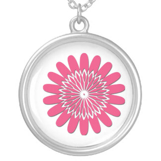 Flower Shadow Mandala Silver Plated Necklace