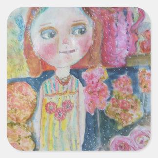 Flower Shop Girl Square Sticker