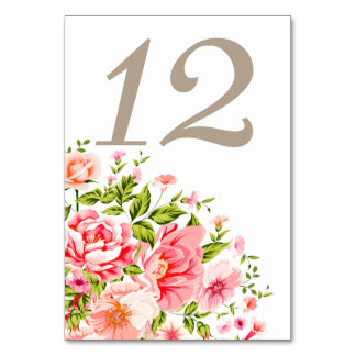 Flower Shower Bouquet Table Numbers | baby pink
