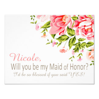 Flower Shower Will You Be My Maid of Honor? | pink Card