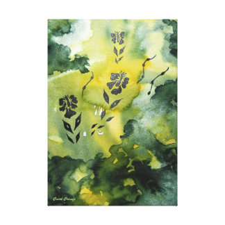 Flower Silhouette in Emerald Canvas Print