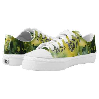 Flower Silhouette in Emerald Low-Top Sneakers