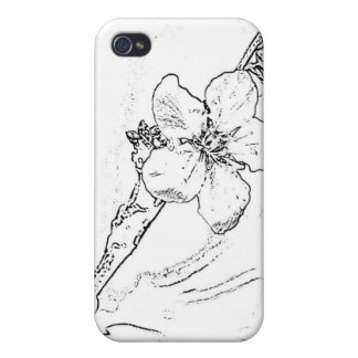 Flower Sketch iPhone 4 Cases
