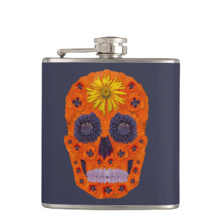 Flower Skull 1 Hip Flask