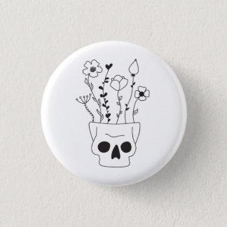 Flower Skull 1 Inch Round Button