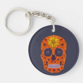 Flower Skull 1 Keychain