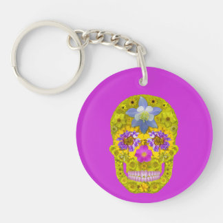 Flower Skull 3 Double-Sided Round Acrylic Keychain