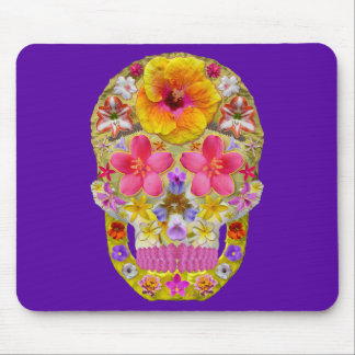 Flower Skull 4 - Tropical Mouse Pad