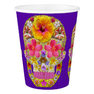 Flower Skull 4 -  Tropical Paper Cup
