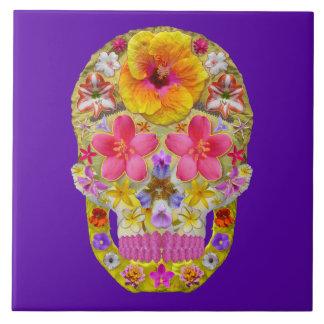 Flower Skull 4 - Tropical Tiles